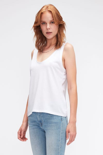 TANK CUTIL W/EMBROIDERY WHITE