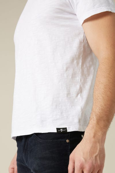 V-NECK T-SHIRT SLUB WHITE
