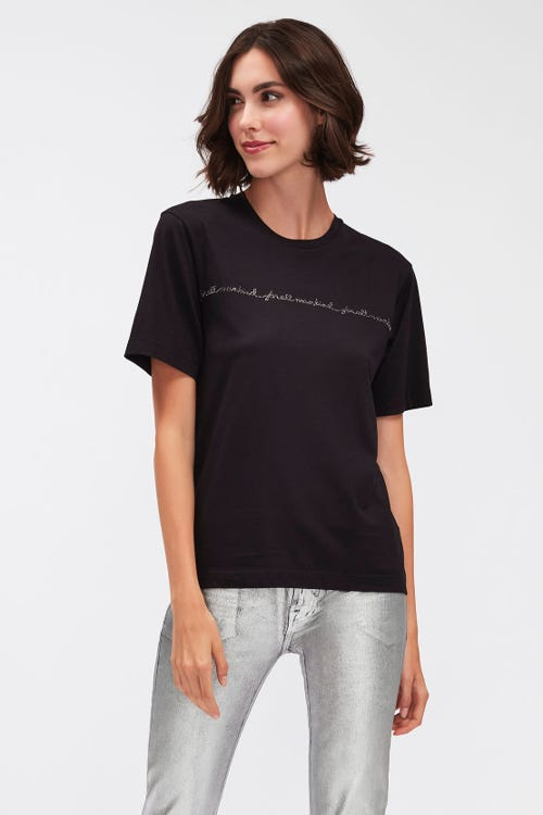 MANKIND TEE CUTIL BLACK WITH CRYSTALS