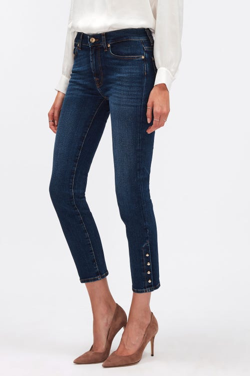 ROXANNE ANKLE SOHO DARK WITH GOLD BUTTONS HEM