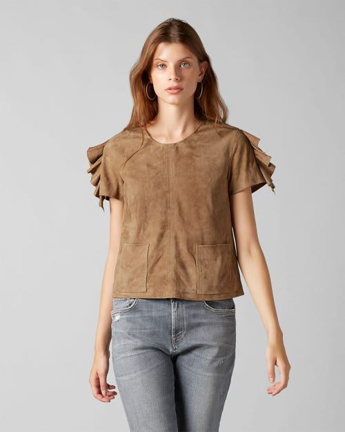 TOP SUEDE WHISKEY WITH RUFFLES