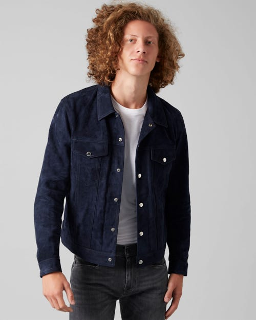 7 for all Mankind - TRUCKER JACKET SUEDE DARK INDIGO