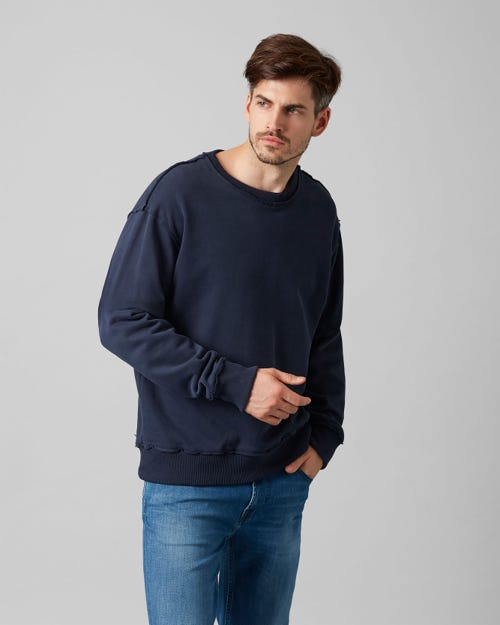 CREW NECK SWEAT COTTON RAW EDGE MIDNIGHT BLUE
