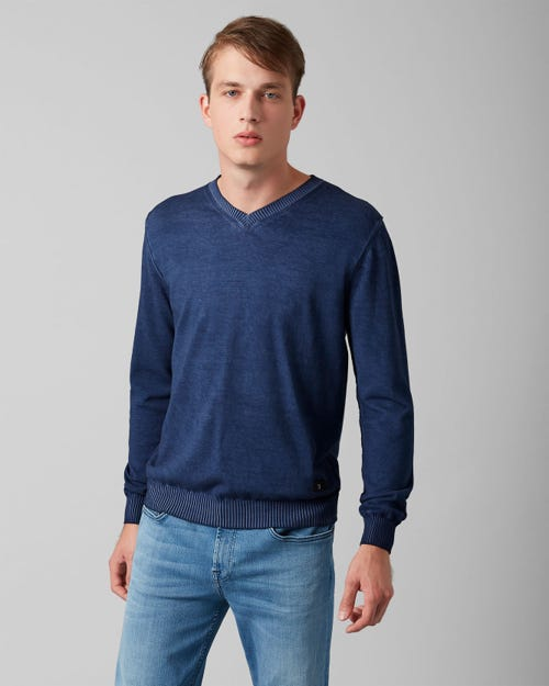 7 For All Mankind - V-Neck Knit Cotton Raw Edge Midnight Blue
