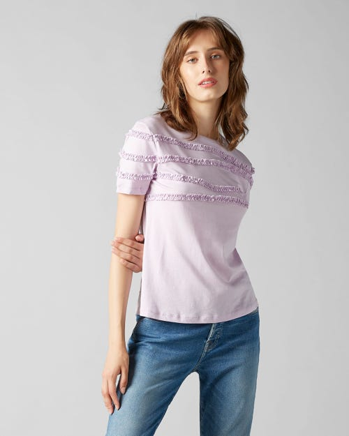 SHORT SLEEVE TEE JERSEY LILAC FRILLY RUFFLED