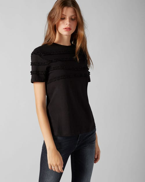 7 For All Mankind - Short Sleeve Tee Jersey Black Frilly Ruffled