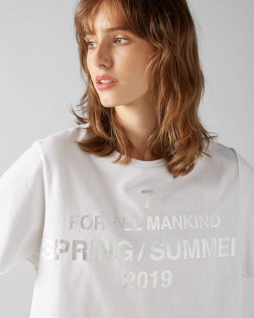 7 For All Mankind - T-Shirt Cotton Logo Printed White