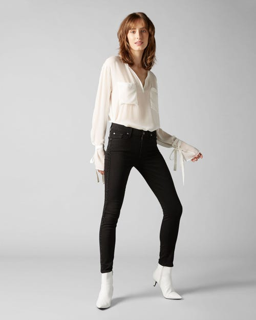 7 For All Mankind - The Ankle Skinny B(Air) Black With Full Side Back Crystals