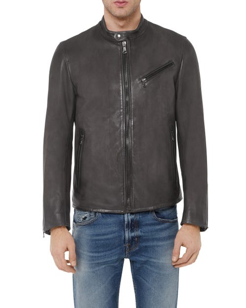 BIKER JACKET LEATHER GREY