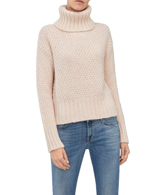 TURTLE NECK SWEATER MIXED FABRICS OATMEAL