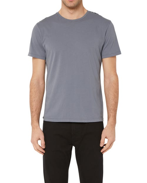 T-SHIRT COTTON GREY WITH BLACK