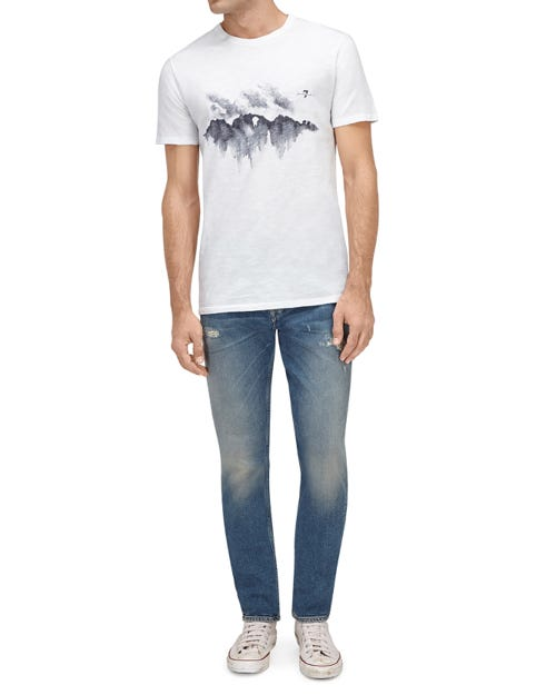 GRAPHIC TEE SLUB DESERT SKYLINE WHITE
