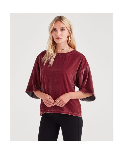 DROP SHOLDER TOP VELVET ANTIQUE PINK