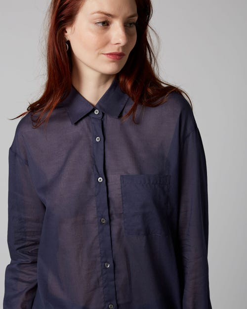 7 for all Mankind - OVERSIZE SHIRT VOILE NAVY