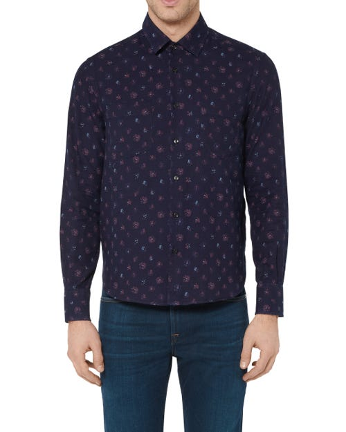 CLEAN SHIRT COTTON INDIGO FLOWERS