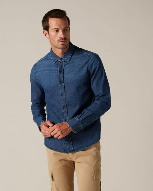PLAIN SHIRT DENIM DARK BLUE