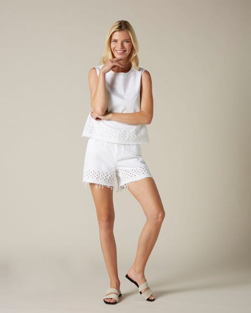 HIGH WAIST SHORTS PURE WHITE SANGALLO