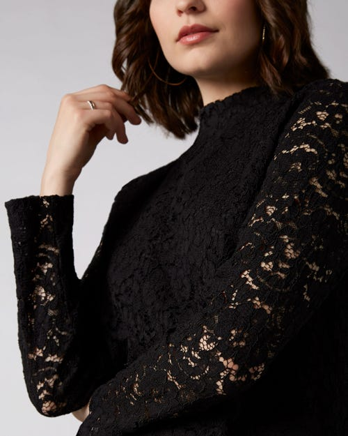 7 For All Mankind - Lace Top Mixed Fabrics Black