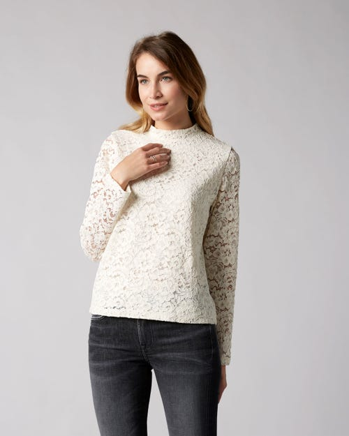 7 For All Mankind - Lace Top Mixed Fabrics Champagne