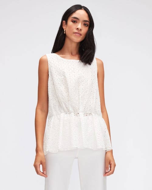 PEPLUM TOP EYELET  WHITE
