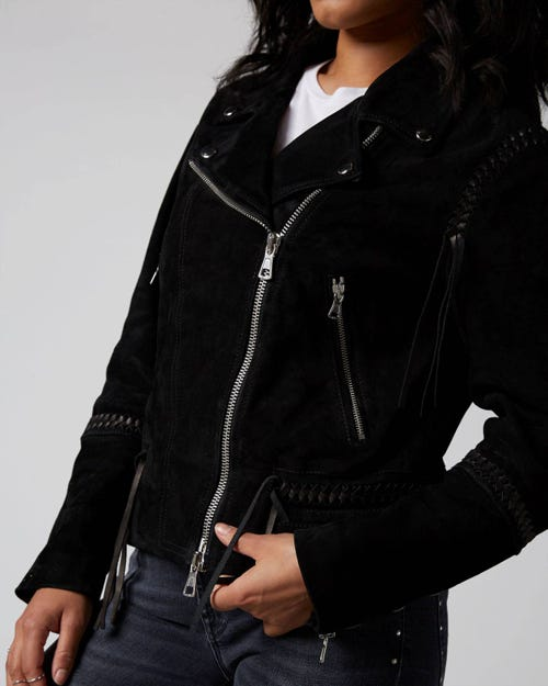 7 For All Mankind - Biker Jacket Suede Black With Braiding