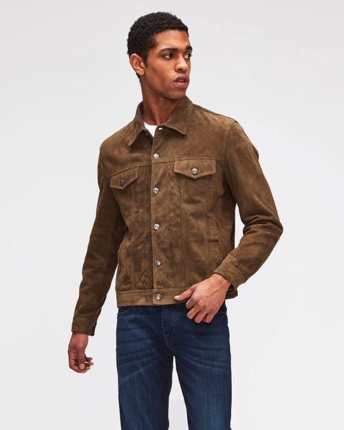 TRUCKER JACKET SUEDE ARMY