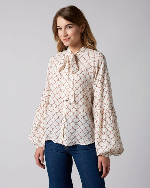 7 For All Mankind - Bowtie Neck Blouse Soft White With Spice