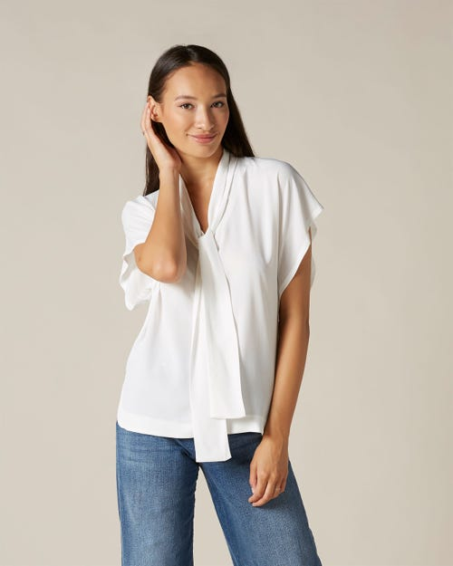 BOW SHIRT VISCOSE SILK OFF WHITE