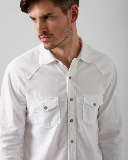 7 For All Mankind - Western Shirt Bells Beach White