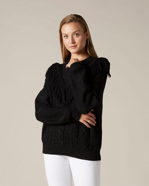 FRINGED KNIT WOOL BLACK WITH BLACK LUREX