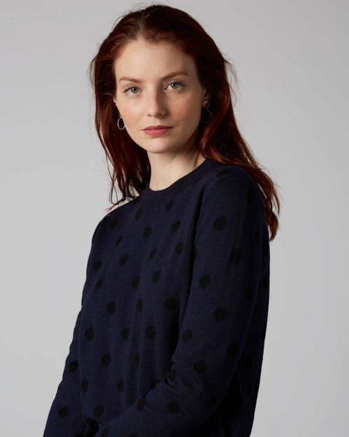 7 For All Mankind - Polka Dot Knit Wool Navy With Black Polka Dots