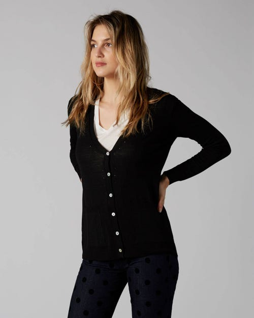 7 For All Mankind - Classic Cardi Wool Merino Black