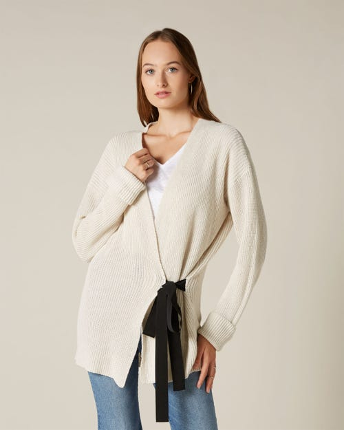 CARDIGAN COTTON LINEN OFF WHITE
