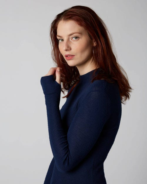 7 For All Mankind - Mock Up Neck Cashmere Silk Navy