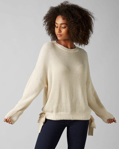 CREW NECK KNIT COTTON WOOL OFF WHITE WITH COULISSE