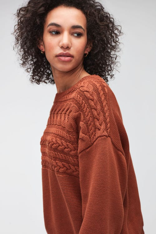 CABLE KNIT COTTON WOOL  CINNAMON