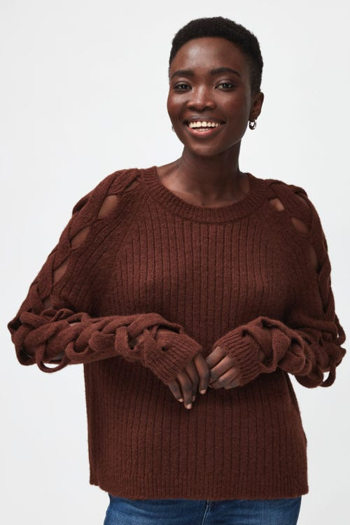 SWEATER ALPACA WITH BRAIDED SLEEVES TOBACCO