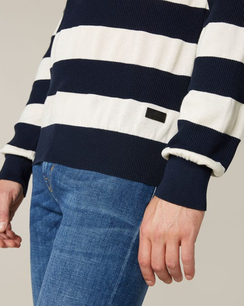 CREW NECK KNIT COTTON STRIPES OFF WHITE & NAVY