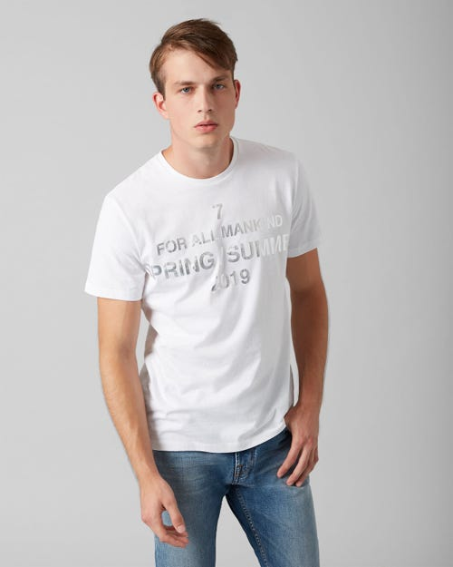 7 For All Mankind - Graphic Tee Cotton Logo Salt White