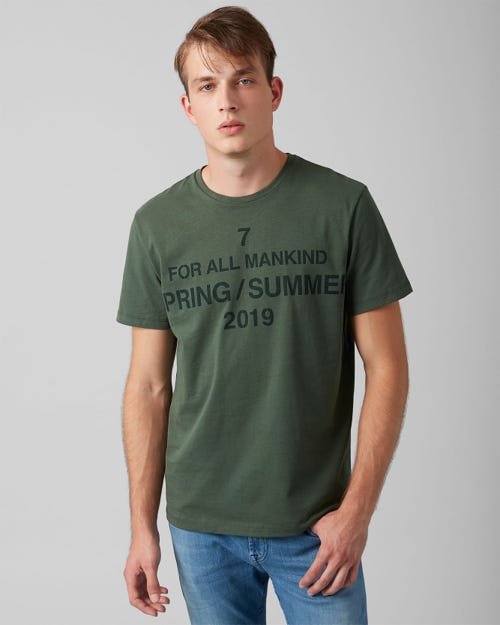 7 For All Mankind - Graphic Tee Cotton Logo Avocado Green