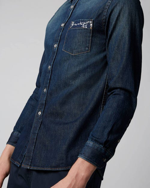 7 For All Mankind - Denim Shirt Big Bend Mid Blue With Embro
