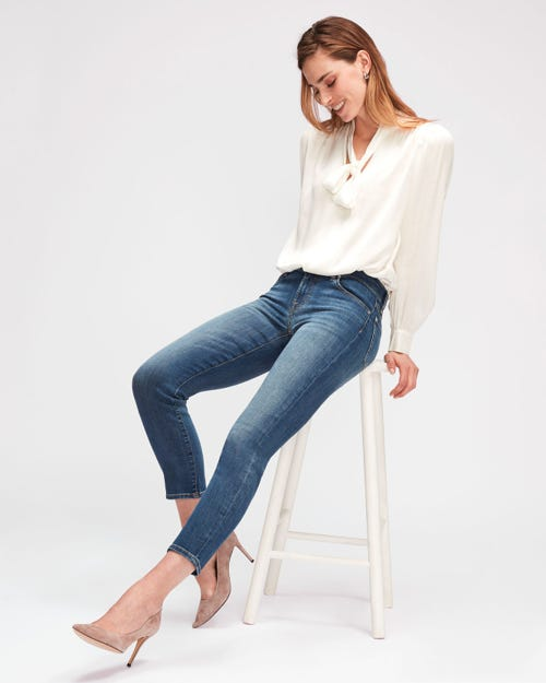 7 For All Mankind - Mid Rise Roxanne Crop B(Air) Vintage Dusk