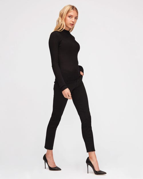 7 For All Mankind - Mid Rise Roxanne Crop B(Air) Rinsed Black