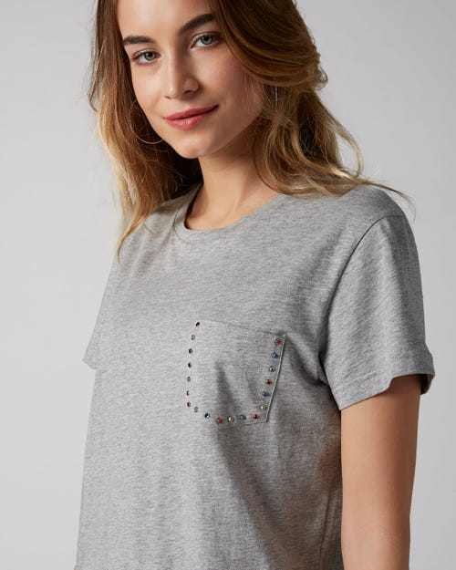 7 For All Mankind - Short Sleeve Tee Cotton Grey Melange With Rhinestones