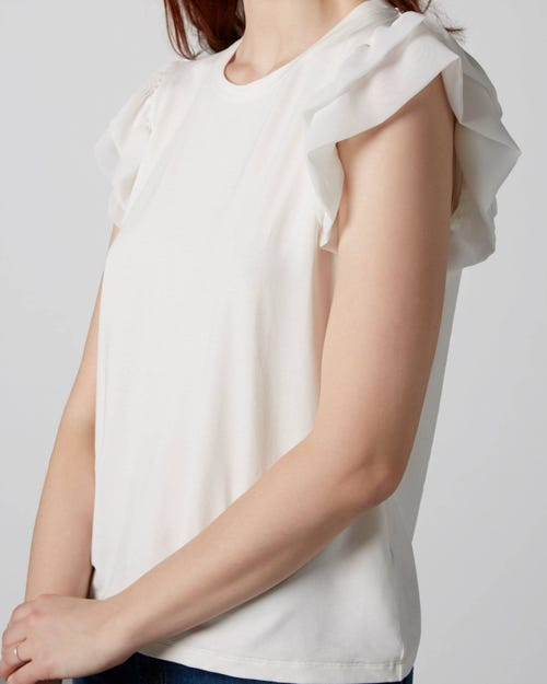 7 For All Mankind - Ruffled Tee Viscose Off White With Ruffles Sleeves