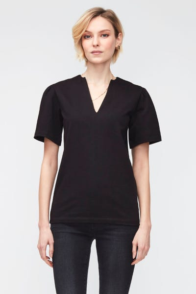 V-NECK COTTON  BLACK
