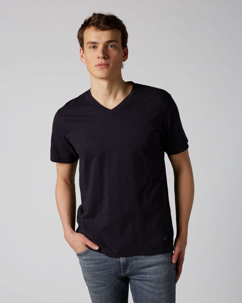 7 For All Mankind - V-Neck T-Shirt Slub Navy