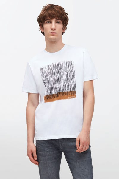 GRAPHIC TEE ABSTRACT BRUSH COTTON WHITE
