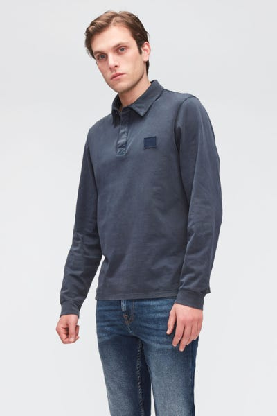 POLO L/S OLD DYE  WASHED NAVY