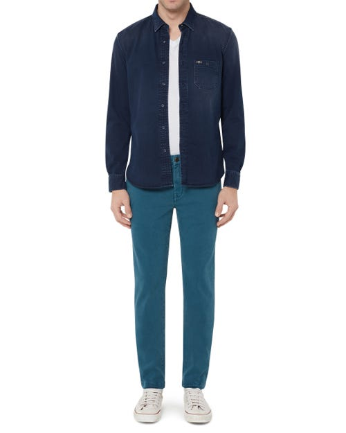 EXTRA SLIM CHINO LUXE PERFORMANCE SATEEN DEEP TEAL